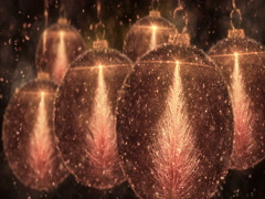 Golden Christmas Balls Bauble Ornament with Fir Tree background loop 4k Stock Footage