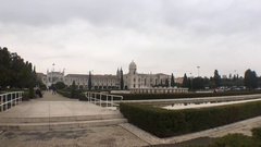 Empire Square And Jeronimos Monastery In Belem, Lisbon Stock Footage