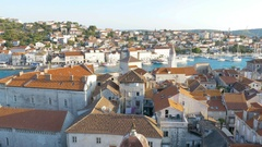 Aerial View of Roof Tops of Old City Stock Footage