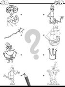 Match pictures coloring book Stock Illustration
