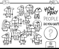 Counting people coloring book Stock Illustration