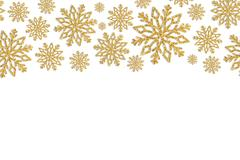 Christmas frame with gold snowflakes. Border of sequin confetti. Stock Illustration
