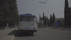 Antique trolley is removed from the frame. Roadway. City. Summer. Russia. Stock Footage