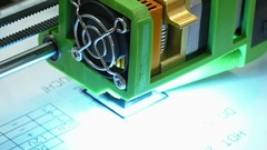 Three dimensional plastic 3d printer in laboratory Stock Footage