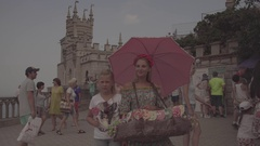 "The architectural complex ""Swallow's Nest."" Festive people. Beautiful girl. Stock Footage"