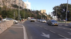 HAIFA, ISRAEL: Ambulance drives to headquarter during fires Stock Footage