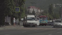 Sunny seaside town. Roadway. Transport. Summer. Russia. Stock Footage