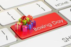 Boxing Day concept, red key on keyboard. 3D rendering Stock Illustration
