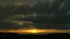 The sun is behind clouds which have closed the horizon. Strong overcast. Stock Footage