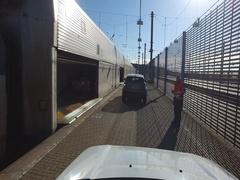 Boarding the Eurotunnel train Stock Footage