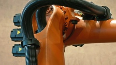 Industrial robot arm for welding and assembling Stock Footage