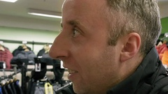 Man emotionally speaks to cashier or sales manager Stock Footage