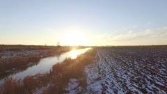 Plow a field in snow Stock Footage