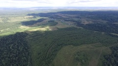 Aerial view on woods, fields and nature of Russia Stock Footage