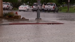 Flooded Streets and Heavy Rain and Traffic Stock Footage
