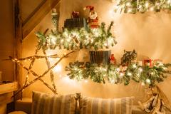 Calm image of interior modern home living room decorated christmas tree and Stock Photos