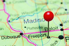 Freeport pinned on a map of Illinois, USA Stock Photos