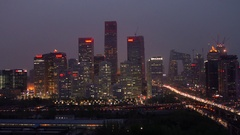 Beijing Financial skyline, Central Business District, Beijing, China Stock Footage
