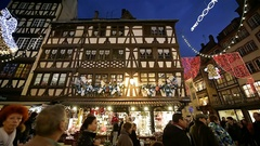 Maison Bollinger timbered house and  Christmas Market Strasbourg France Stock Footage