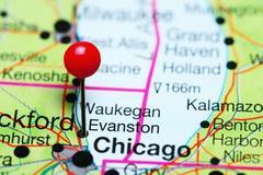 Evanston pinned on a map of Illinois, USA Stock Photos