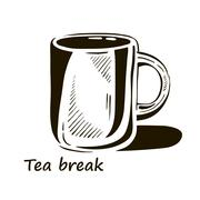 Hand drawn cup of tea with shadow. Stock Illustration