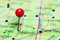 Mattoon pinned on a map of Illinois, USA Stock Photos