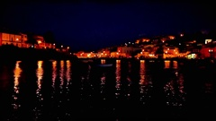 The village Ferragudo in Portugal by night Stock Footage
