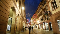 Focusing to Shopping during Christmas in France Stock Footage