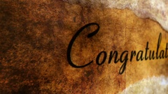 Congratulation text on grunge background Stock Footage