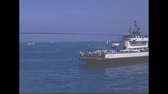 Vintage 16mm film, 1969, San Diego, riding the ferry, great vis Stock Footage