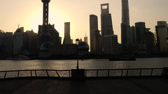 Time lapse. The Bund with Pudong Financial Skyline early morning, Shanghai Stock Footage