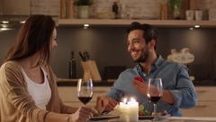 While Having Romantic Dinner in the Kitchen. Young Man Proposes. Stock Footage