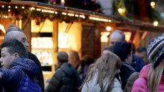 Best Christmas Market Atmosphere people shopping Stock Footage