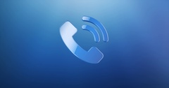 Phone Ring Blue 3d Icon Stock Footage