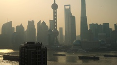 Shanghai Skyline & Financial District with Oriental Pearl and Pudong Stock Footage