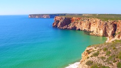 Rocks and ocean near Sagres in Portugal Stock Footage