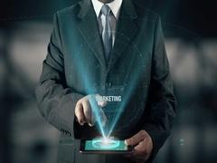 Businessman Social Media Marketing Business Communication Network Sharing Arkistovideo