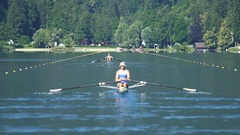 Two athletes competing in rowing, professional sport and healthy lifestyle Stock Footage