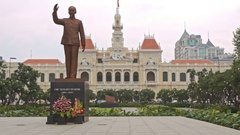 Monument to Ho-Chi-Minh on Central Square in Saigon in Vietnam Stock Footage