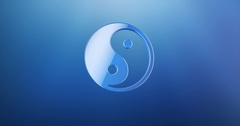 Yin and yang Blue 3d Icon Stock Footage