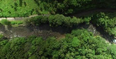 Aerial tracking the Rosalie River out towards the coast of Dominica Stock Footage