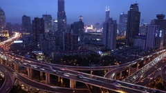 Time lapse of busy elevated road junction & skyline at dusk, Shanghai, China Stock Footage
