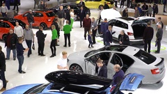 Lot of people and cars of different models. Top view. Stock Footage