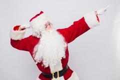 Santa Claus - superhero. Isolated on white Stock Photos