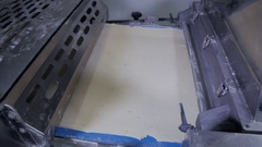 Cookies automated Production line. Industrial conveyor With Dough and sweet Stock Footage