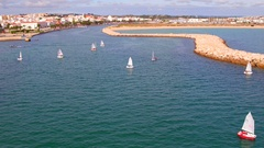 Aerial from sailing in the harbor from Lagos in the Algarve Portugal Stock Footage