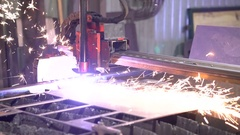 Cutting of metal. Sparks fly from plasma and metal interaction Stock Footage