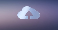 Cloud Up Silver 3d Icon Stock Footage