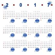 Simple vector template of 2017 calendar Stock Illustration