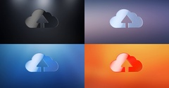 Cloud Up 3d Icon Stock Footage